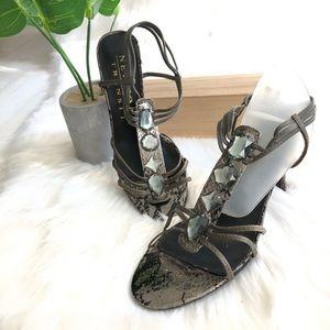 New York Transit Faux Snakeskin Strappy Sandals, 7